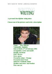 English Worksheets: Writing (Personal Description, using notes)