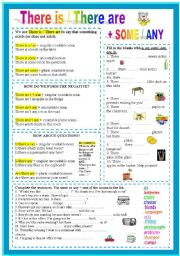 English Worksheet: There is / There are + some / any