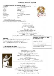 English Worksheets: Bohemian Rhapsody