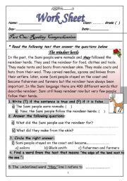 English Worksheets: The Reindeer Herds