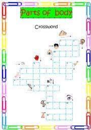 English Worksheet: parts of body crossword