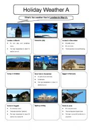 English Worksheets: Holiday Weather Information Gap Sheet A