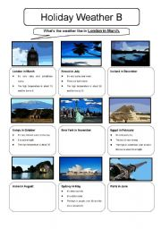 English Worksheet: Holiday Weather Information Gap Sheet B