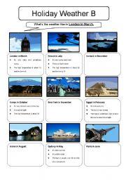 English Worksheets: Holiday Weather Information Gap Sheet B