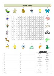 English Worksheets: Animal-Wordsearch Quiz