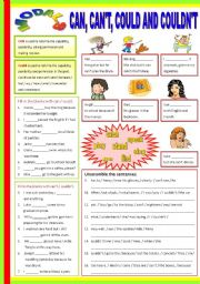 English Worksheet: Can - Can�t - could - Couldn�t  (B/W & Keys)