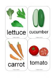 English Worksheet: Fruit / Vegetable Flashcards (Common Vegetables et al.) (16 Cards)