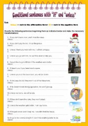 English Worksheet: Conditional sentences with if and unless