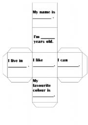 English Worksheets: about me dice