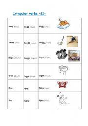 English worksheet: Irregular verbs -II-