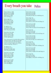 English Worksheets: SONG. Every breath you take and PHONETICS