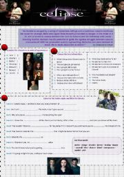 English Worksheets: Eclipse- Twilight Saga
