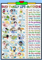 English Worksheets: BUSY FAMILY LIFE - MATCHING EXERCISE (B&W VERSION INCLUDED)