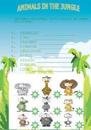 English Worksheets: ANIMALS IN THE JUNGLE