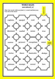 PRONUNCIATION word maze unvoiced