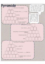 English Worksheets: word pyramid