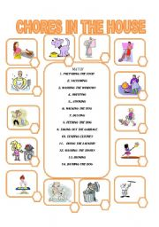 English Worksheet: 14 CHORES IN THE HOUSE
