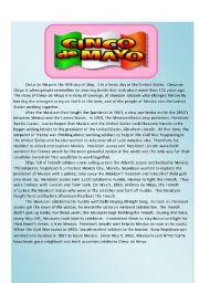 English Worksheets: Cinco de Mayo Reading Comprehension