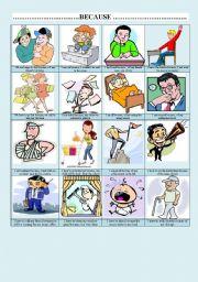 English Worksheets: ..............BECAUSE ................