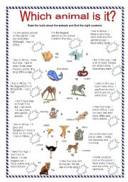 English Worksheets: Which animal is it?