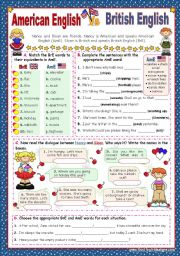 English Worksheet: When in America speak like the Americans  -  BrE   Vs   AmE  (1)   for elementary stds