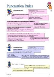 Punctuation Rules And Examples Esl Worksheet By Xinalisa