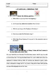 English worksheet: special days : test step 10 - St Lucy´s Day & Christmas.