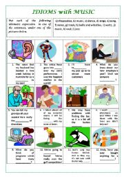 English Worksheets: IDIOMS WITH MUSIC  (with key)