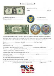 English Worksheets: one dollar bill