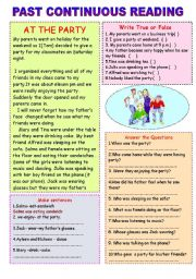 English Worksheet: Party at home