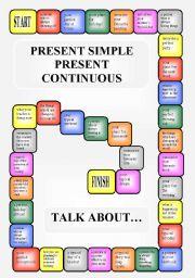 Boardgame - Present Simple vs. Present Continuous (editable)
