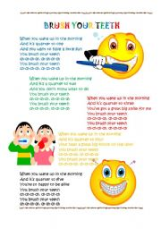 English Worksheets: BRUSH YOUR TEETH