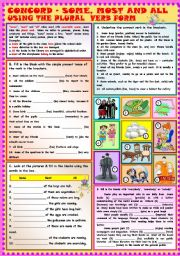 English Worksheets: Some, Most and All using the plural verb form + KEY