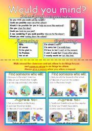 English Worksheet: Making request worksheet with 10 conversation cards set