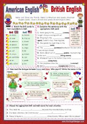 English Worksheet: When in America speak like the Americans  -  BrE  vs  AmE  (2)  for elementary stds.