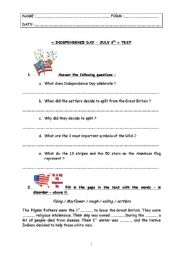 English worksheet: special days - test step 6 - July 4th, American Independenc Day