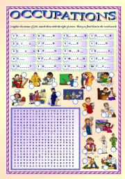 English worksheet: Occupations (fully editable, with key)