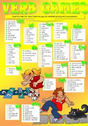 English Worksheets: VERB COLLOCATIONS