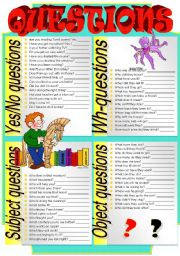 English Worksheets: QUESTIONS (Part 3)