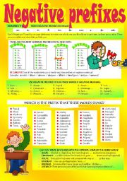 English Worksheets: WORD FORMATION: NEGATIVE PREFIXES (Part 2)