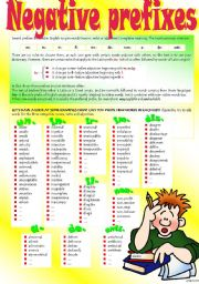 English Worksheet: WORD FORMATION: NEGATIVE PREFIXES (Part I)