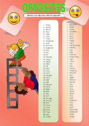 English Worksheet: OPPOSITES