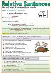 English Worksheet: Relative Sentences
