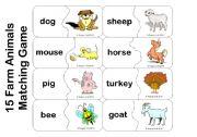 English Worksheets: Farm Animals - Matching or Memory Game (15 Animals)