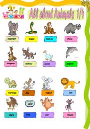 English Worksheets: All about animals 1