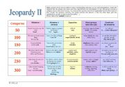 English Worksheet: Jeopardy II - General English