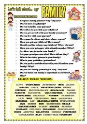 English Worksheet: LET�S TALK ABOUT MY FAMILY (SPEAKING SERIES 18)