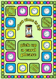 English Worksheet: What time is it?. Time telling board game + cards + instructions. Fully editable