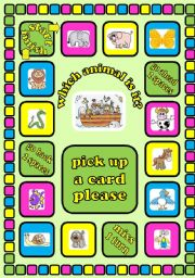 English Worksheet: Animals board game + cards + instructions. Fully editable
