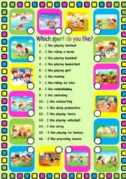 English Worksheet: Which sport do you like?. Fully editable
